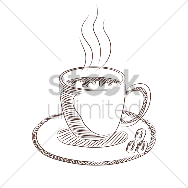coffee in cup vector graphic