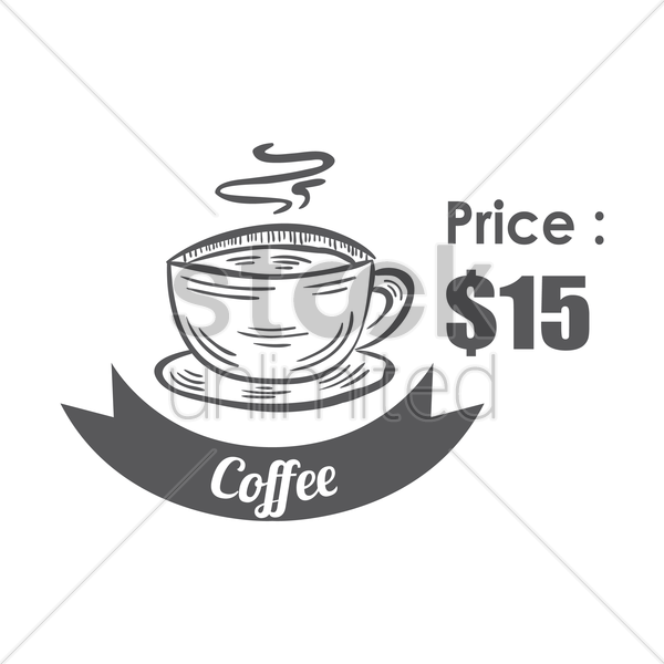 coffee menu title with price vector graphic