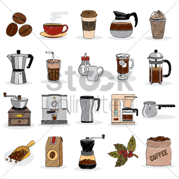 coffee set icons vector graphic