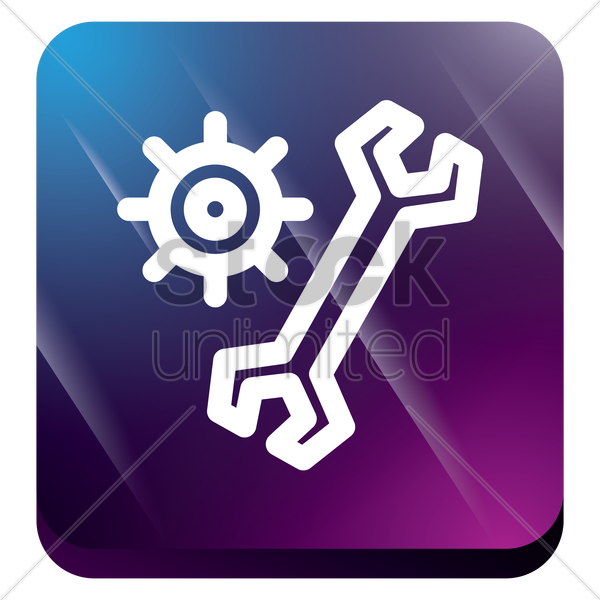 cogwheel with wrench vector graphic