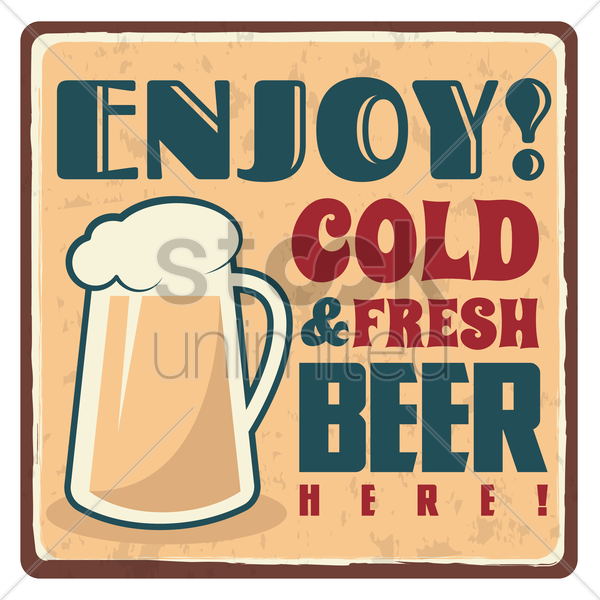 cold and fresh beer sticker vector graphic