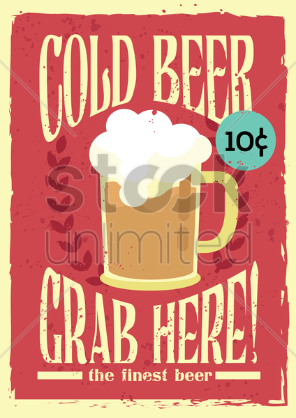 cold beer poster vector graphic