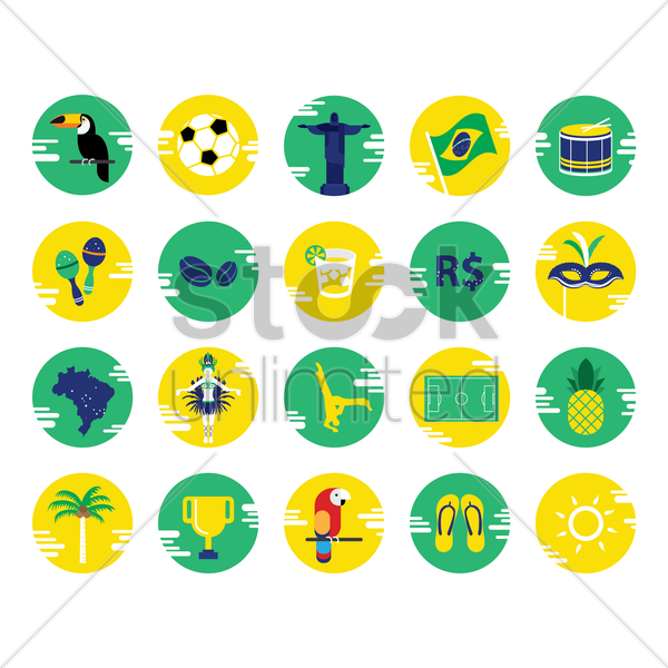collection brazil icons vector graphic