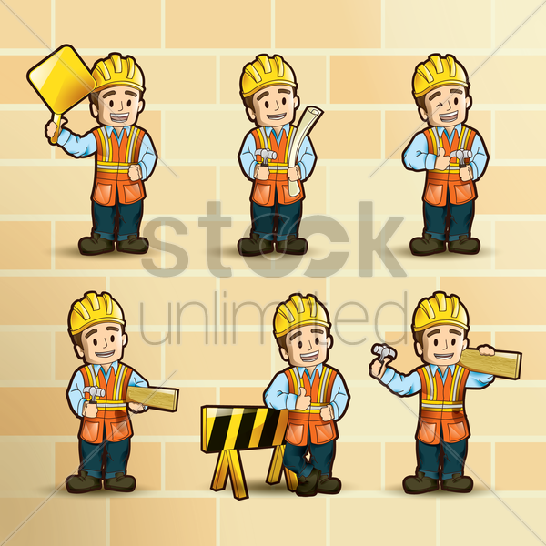 collection if construction worker vector graphic