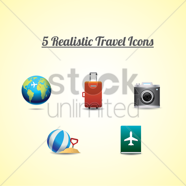 collection of 5 realistic travel icons vector graphic
