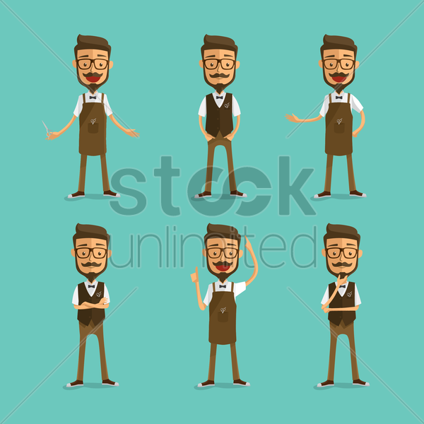 collection of a barber's gestures vector graphic