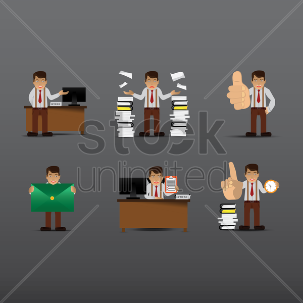 collection of a corporate officer's activities vector graphic