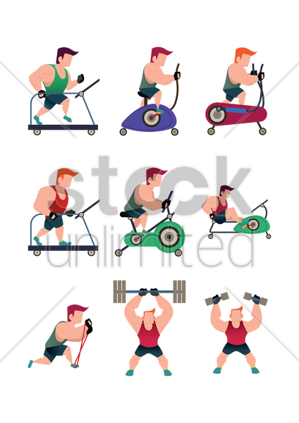 collection of a muscular man working out vector graphic