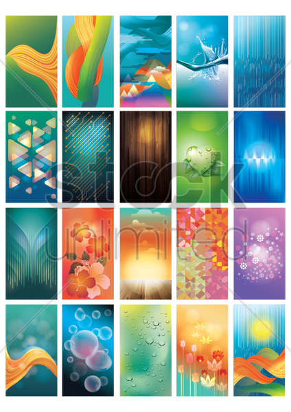 collection of abstract designs vector graphic