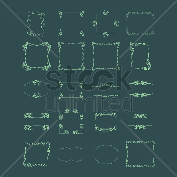 collection of abstract retro frames vector graphic