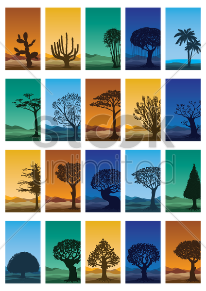 collection of abstract trees wallpapers vector graphic