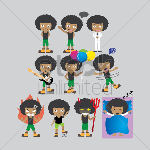 collection of african boy with different actions vector graphic