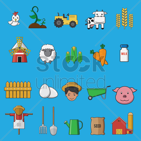 collection of agricultural equipments vector graphic