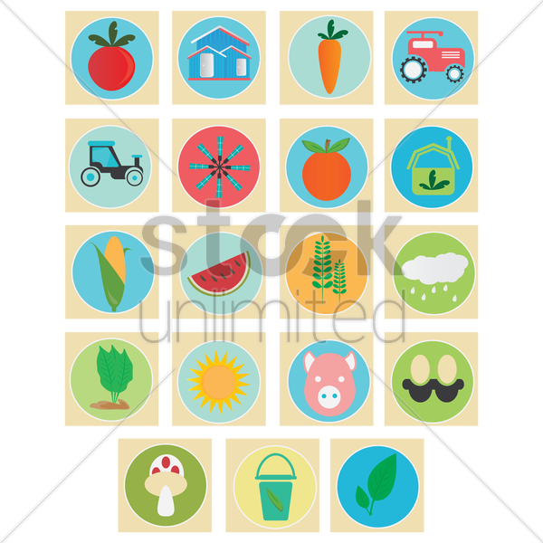 collection of agricultural icons vector graphic