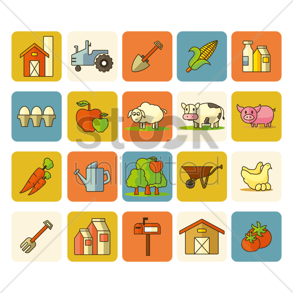 collection of agricultural items vector graphic
