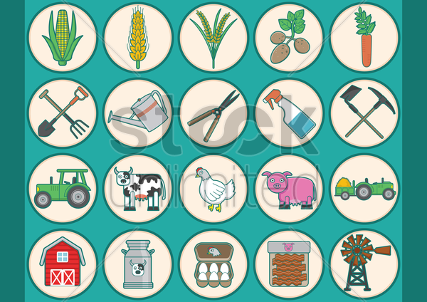 collection of agriculture icons vector graphic