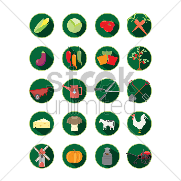 collection of agriculture vector graphic