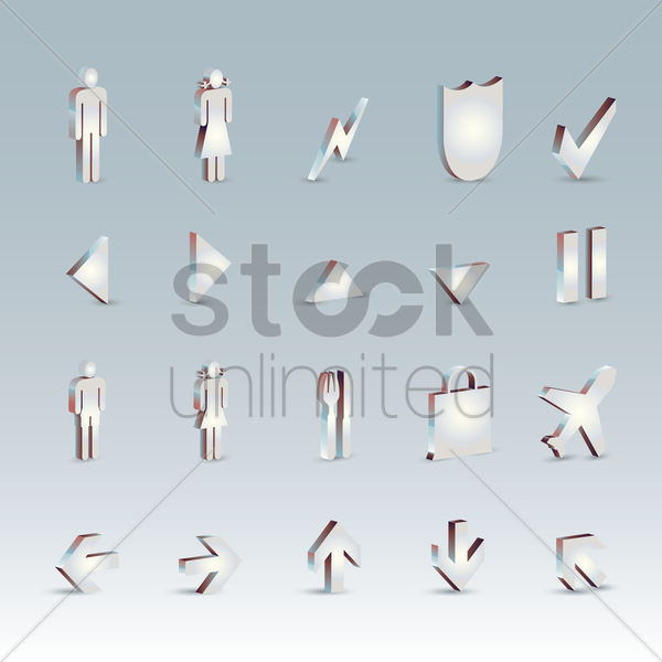 collection of airport symbols vector graphic