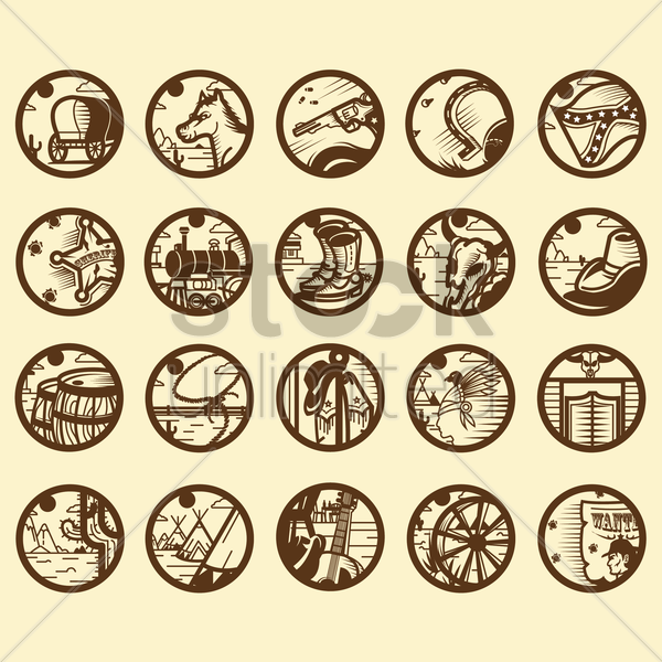 collection of america icons vector graphic