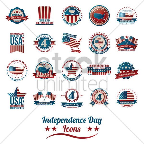 collection of american independence day icons vector graphic