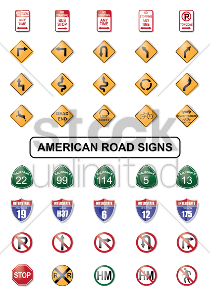 collection of american road sign vector graphic