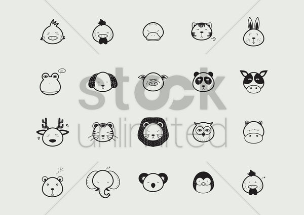 collection of animal faces vector graphic