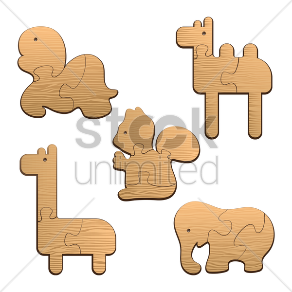 collection of animal wood puzzles vector graphic
