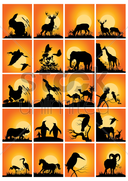 collection of animals and birds silhouette vector graphic