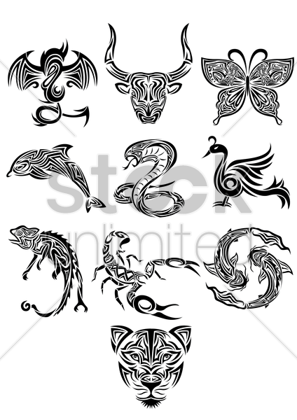Free collection of animals tattoos vector graphic
