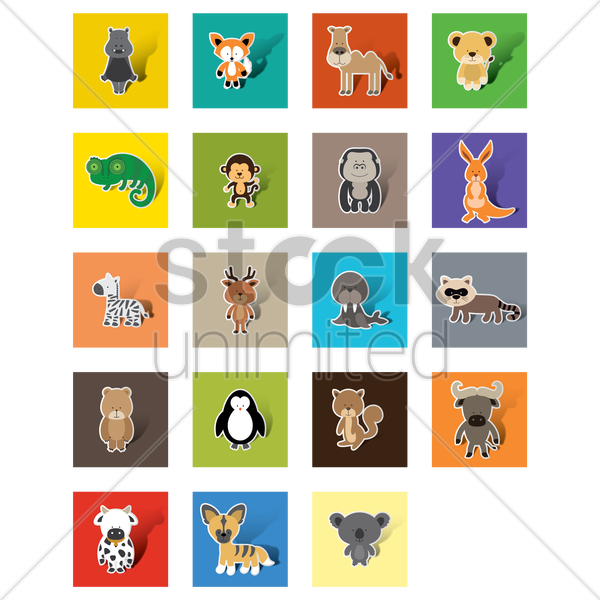 collection of animals vector graphic