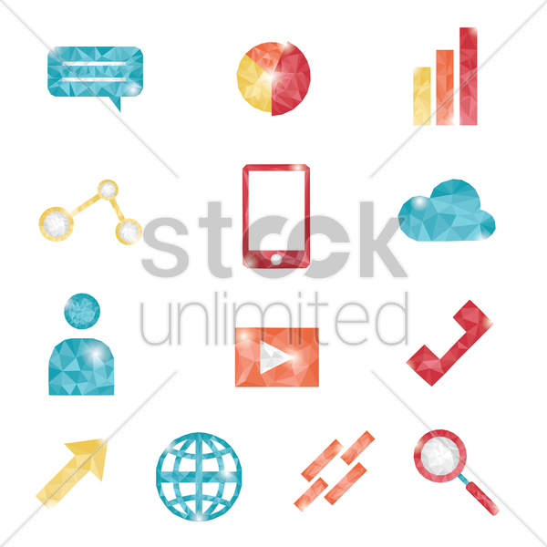 collection of assorted icons vector graphic