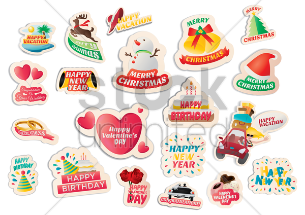 collection of assorted stickers vector graphic