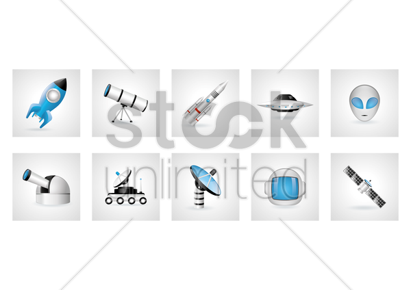 collection of astronautical icons vector graphic