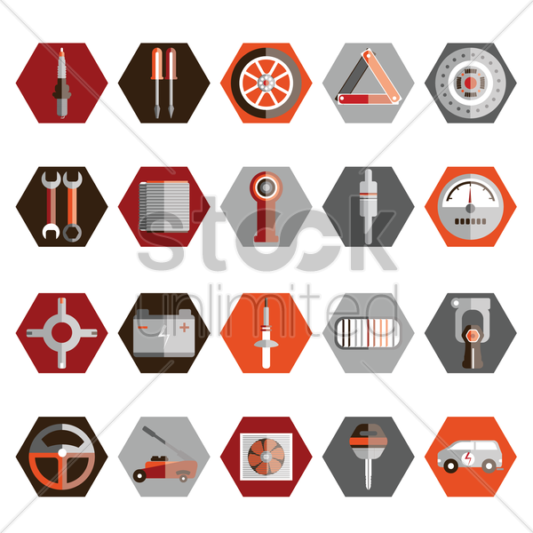 collection of auto parts and tools vector graphic