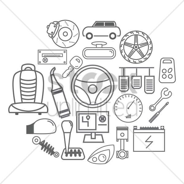 collection of auto parts vector graphic