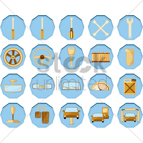 collection of auto tools and parts vector graphic