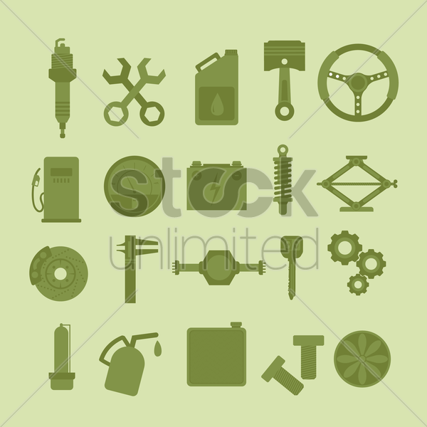 collection of automobile parts and tools vector graphic