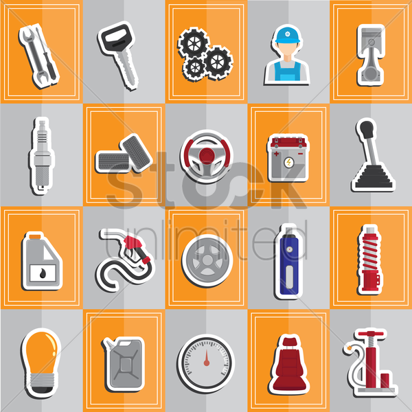 collection of automobile parts vector graphic