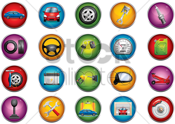 Free collection of automotive related objects vector graphic