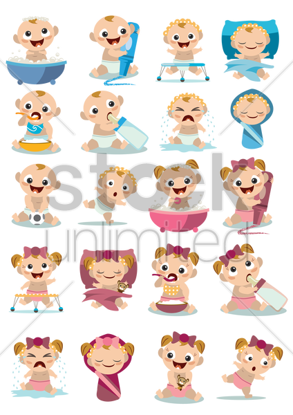 Free collection of baby activities vector graphic