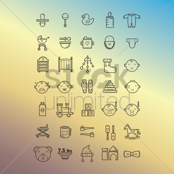 Free collection of baby icons vector graphic