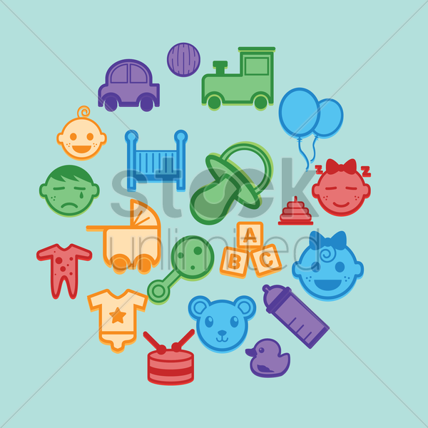 collection of baby icons vector graphic