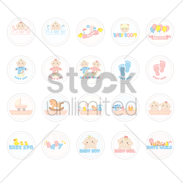 collection of baby shower labels vector graphic