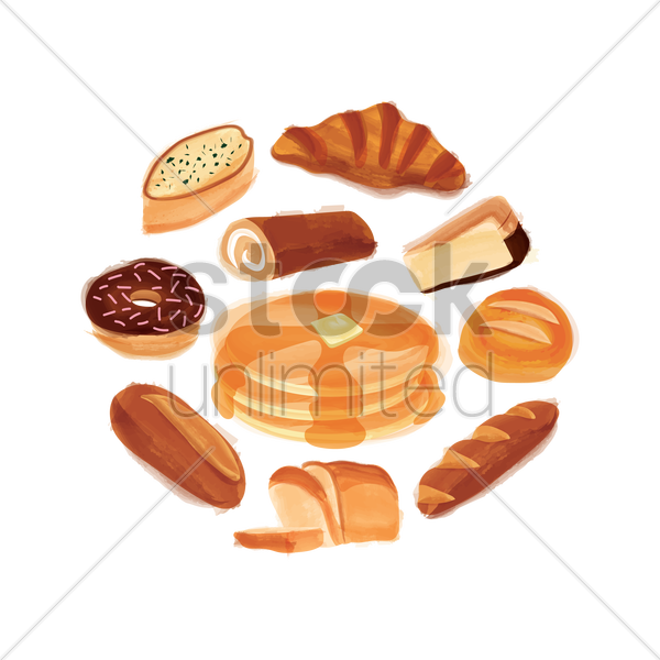 collection of baked food vector graphic