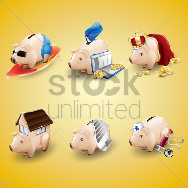 collection of banking icons vector graphic