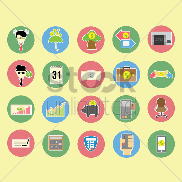 Free collection of banking related items vector graphic