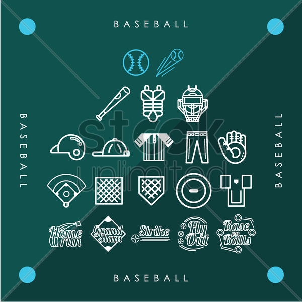 collection of baseball icons vector graphic