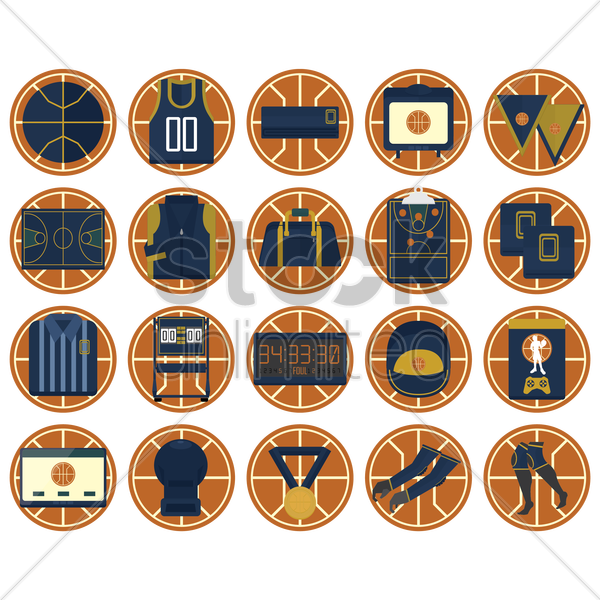 collection of basket ball icons vector graphic
