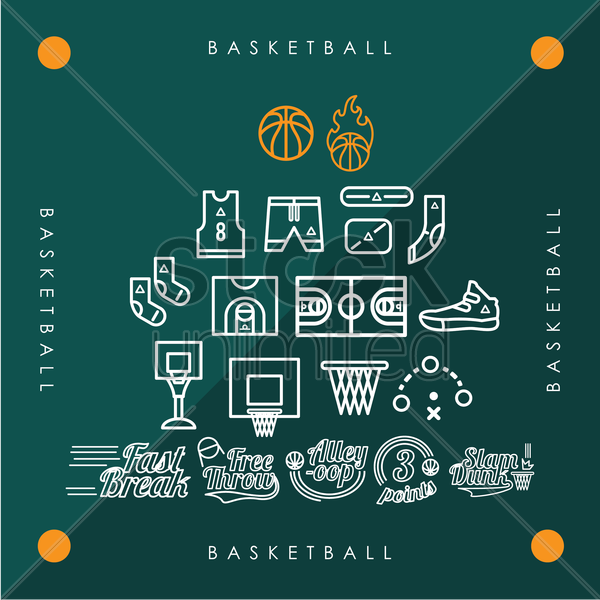 collection of basketball icons vector graphic