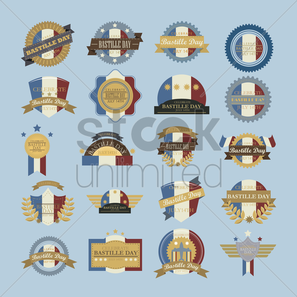 collection of bastille day labels vector graphic